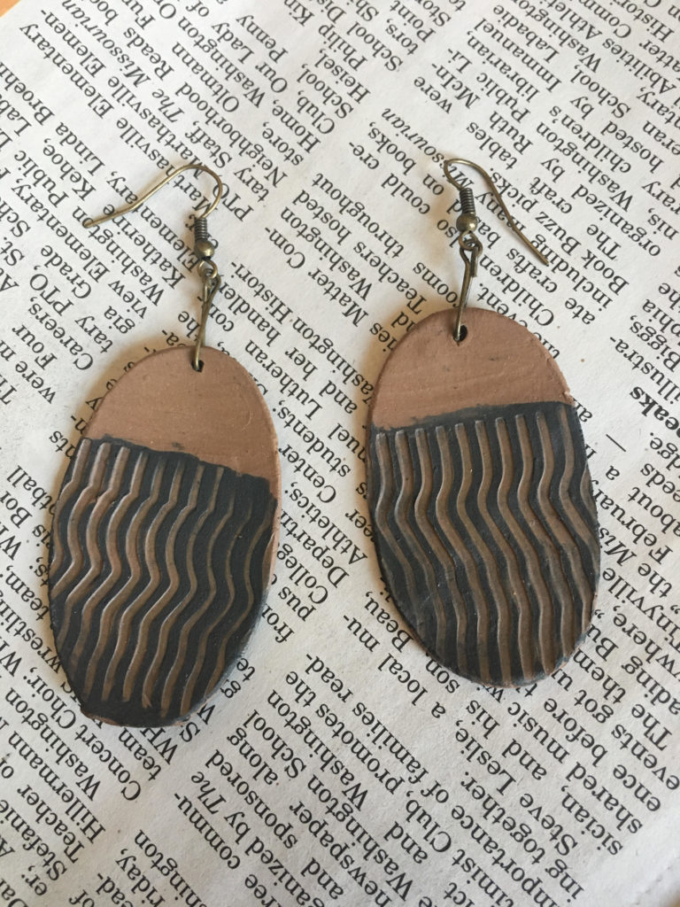 Striped Red Clay Earrings
