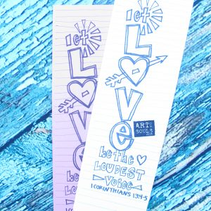 handmade coloring bookmark love