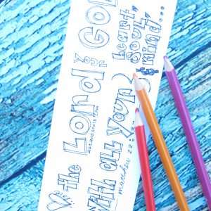 Valentine coloring bookmark love
