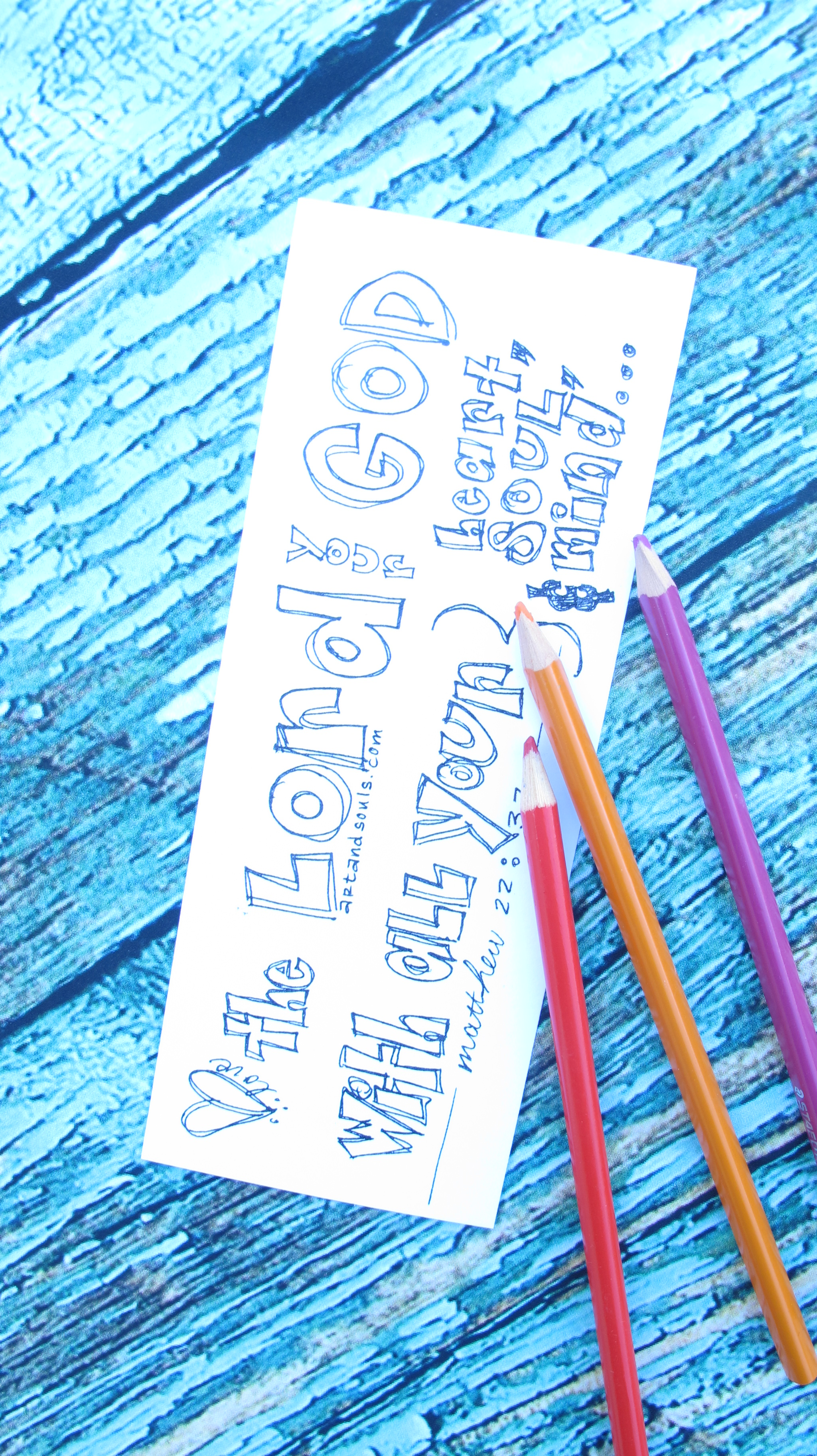 Valentine coloring bookmark love the Lord your God (2)