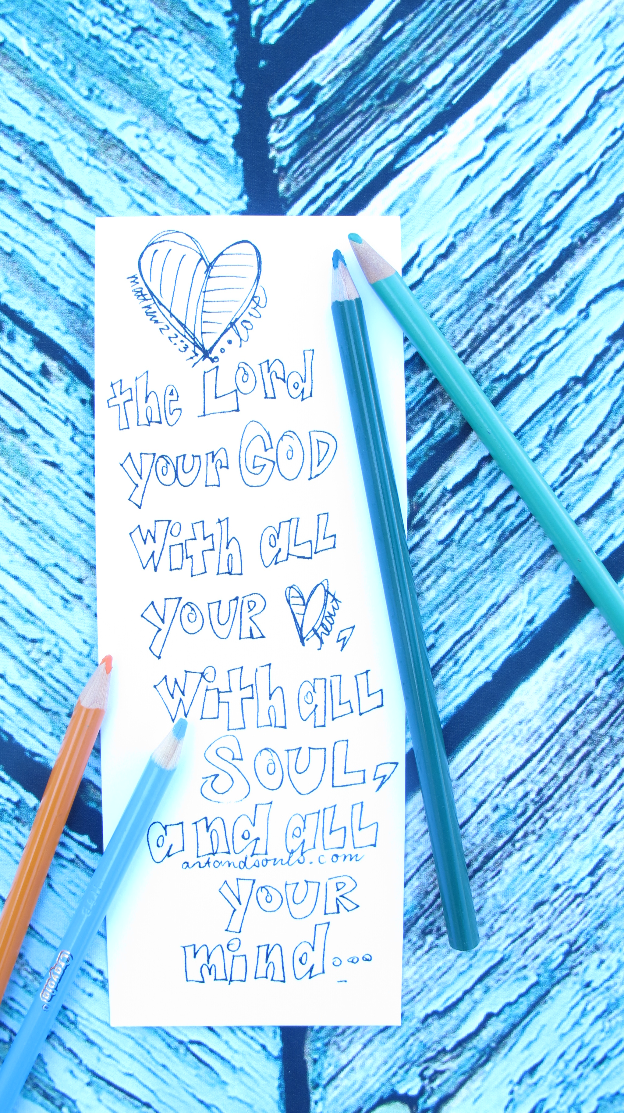 Valentine coloring bookmark love the Lord your God