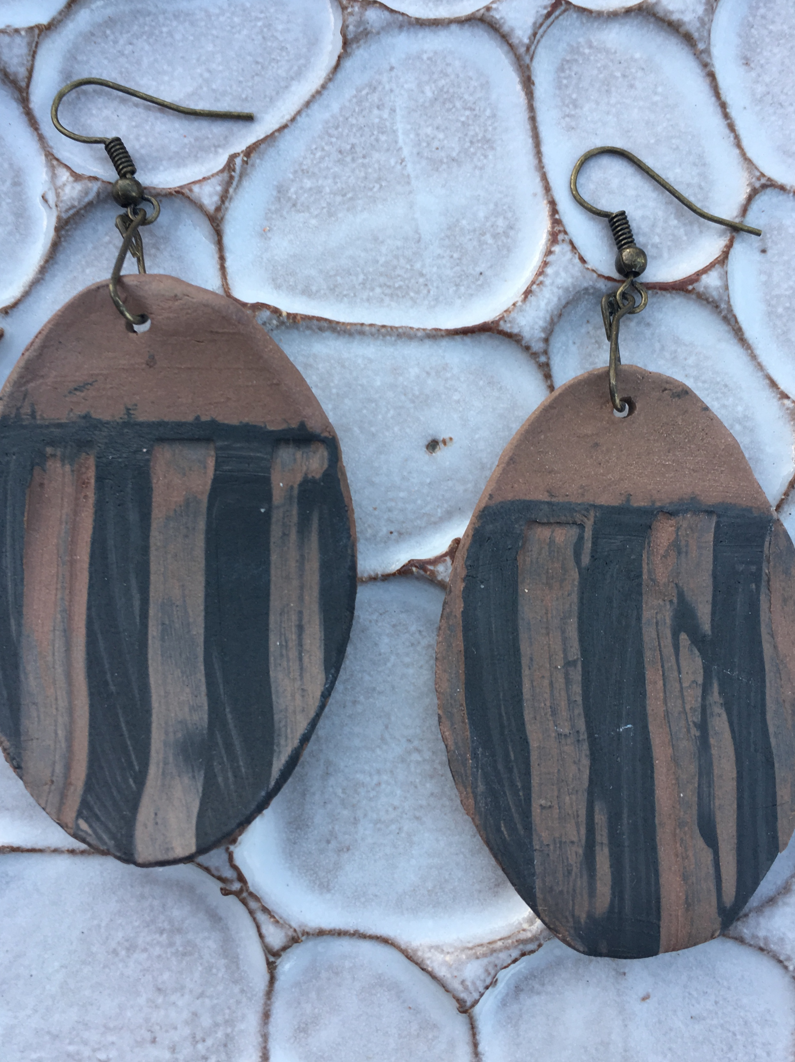 large clay striped oval earrings