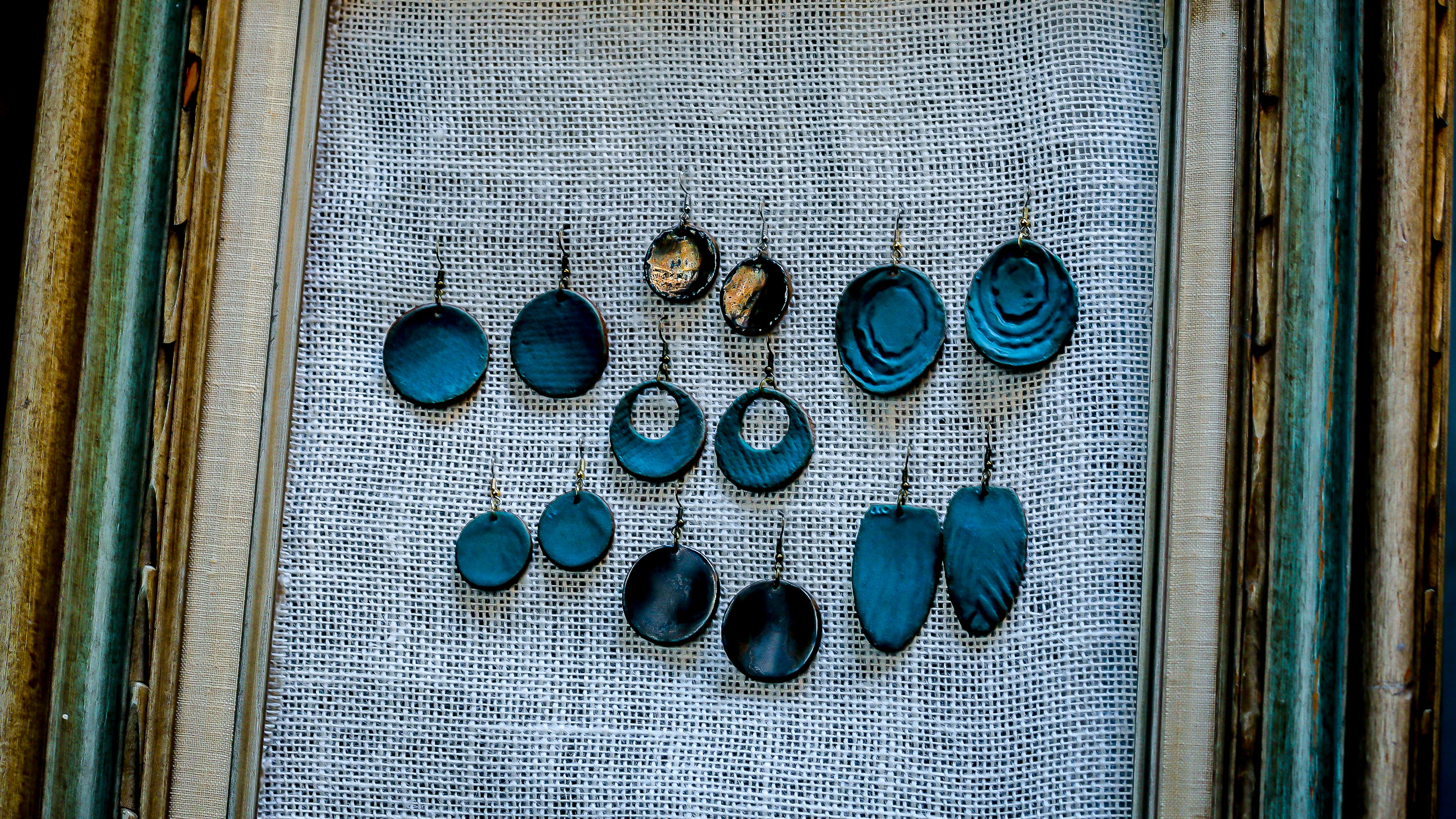 Cool Waters clay earrings
